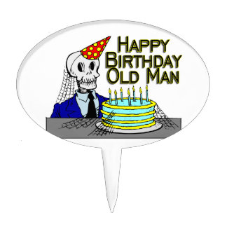 Happy Birthday Spider Web Old Man Cake Topper