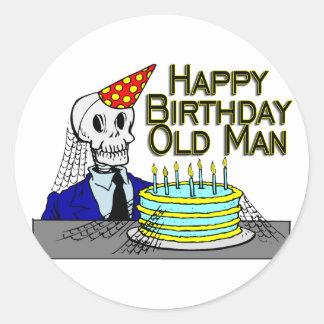 Happy Birthday Spider Web Old Man Classic Round Sticker