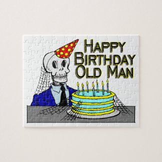 Happy Birthday Spider Web Old Man Jigsaw Puzzle