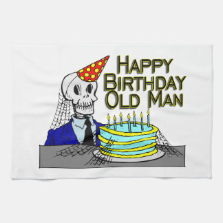 Happy Birthday Spider Web Old Man Kitchen Towel