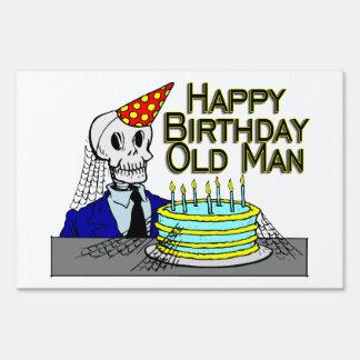 Happy Birthday Spider Web Old Man Lawn Sign