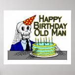 Happy Birthday Spider Web Old Man Print