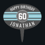 """Happy Birthday Sports Jersey Stripes Name and Age Cake Topper<br><div class=""""desc"""">Light Blue and Charcoal Gray -- This sporty and racing stripes design is perfect for any athlete playing football, soccer or baseball. You change the numbers to your lucky number or even a special age for a birthday celebration. A rugged and masculine design with an area for any Anniversary Date...</div>"""