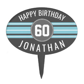 Happy Birthday Sports Jersey Stripes Name and Age Cake Topper