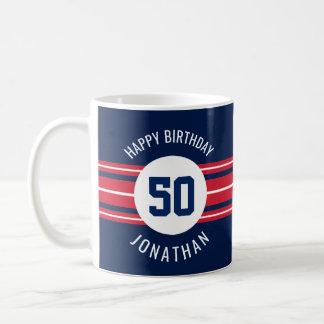 Happy Birthday Sports Jersey Stripes Name and Age Coffee Mug