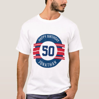 Happy Birthday Sports Jersey Stripes Name and Age T-Shirt