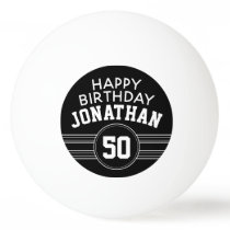 Happy Birthday Sports Stripes with Age White Black Ping Pong Ball