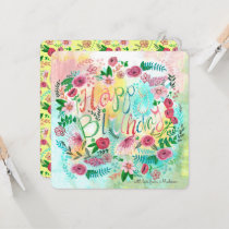 Happy Birthday Spring Floral Flowers Greeting card
