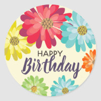 Happy Birthday spring flowers Classic Round Sticker