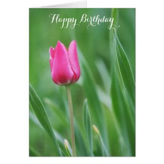 Happy Birthday, Spring Pink Tulip Flower Card