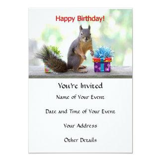 Happy Birthday Squirrel 5x7 Paper Invitation Card