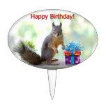 Happy Birthday Squirrel Cake Picks