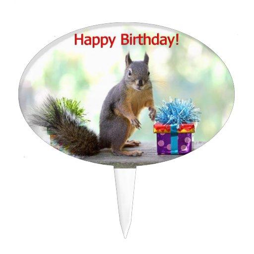 Happy Birthday Squirrel Cake Topper