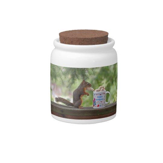 Happy Birthday Squirrel Candy Dish