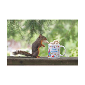 Happy Birthday Squirrel Stretched Canvas Print