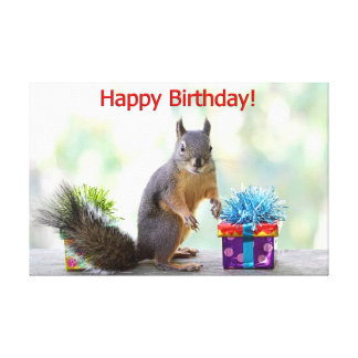 Happy Birthday Squirrel Canvas Print