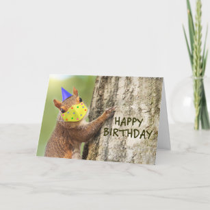 Happy Birthday Squirrel in Coronavirus Face Mask Holiday Card