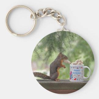 Happy Birthday Squirrel Keychain