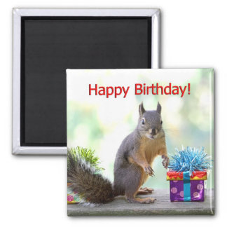 Happy Birthday Squirrel Refrigerator Magnet