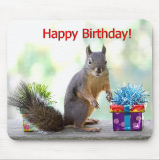Happy Birthday Squirrel Mouse Pad