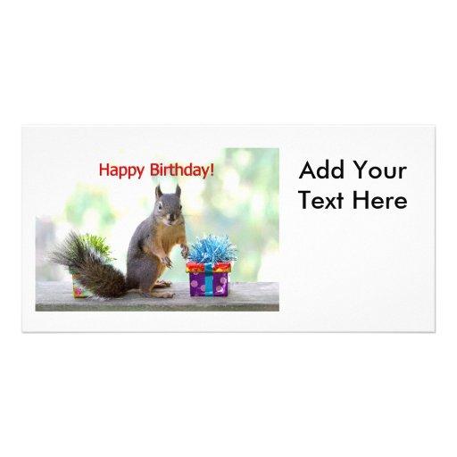 Happy Birthday Squirrel Photo Card