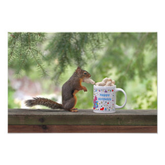 Happy Birthday Squirrel Photo Print