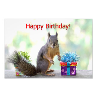 Happy Birthday Squirrel Photo Print