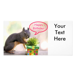 Happy Birthday Squirrel Photo Card Template
