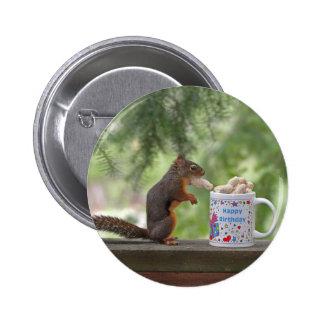Happy Birthday Squirrel Pinback Button