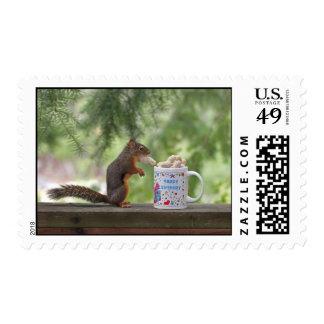 Happy Birthday Squirrel Postage Stamp