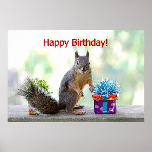 Happy Birthday Squirrel Poster