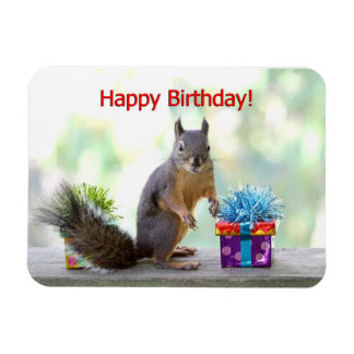 Happy Birthday Squirrel Flexible Magnet