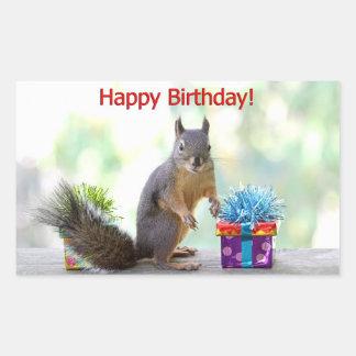 Happy Birthday Squirrel Rectangular Sticker