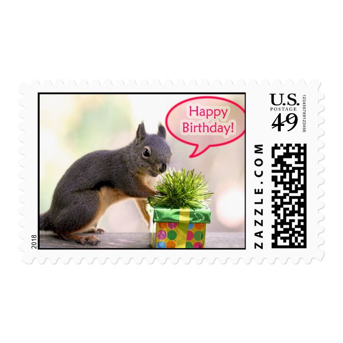 Happy Birthday Squirrel Stamp