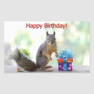 Happy Birthday Squirrel Stickers