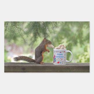 Happy Birthday Squirrel Rectangle Sticker