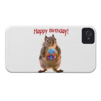 Happy Birthday Squirrel with Present iPhone 4 Case