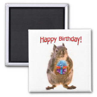 Happy Birthday Squirrel with Present Magnets