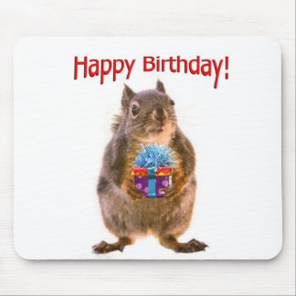 Happy Birthday Squirrel with Present Mouse Pad