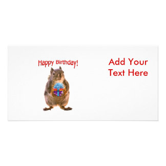 Happy Birthday Squirrel with Present Personalized Photo Card