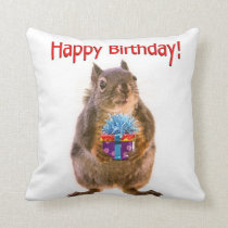 Happy Birthday Squirrel with Present Throw Pillow