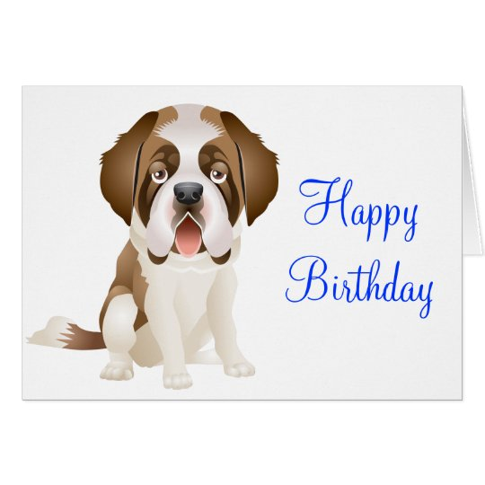 Happy Birthday St Bernard Puppy Dog Greeting Card – Dog Birthday Card
