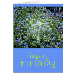 """""""Happy Birthday"""",  Stained Glass in Blues&Greens Card"""