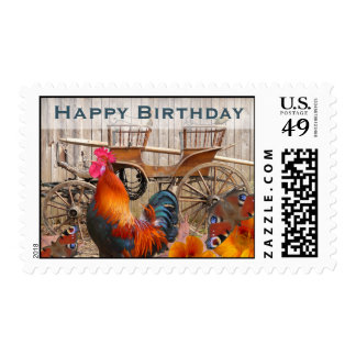 Happy Birthday Stamps Rooster and Rustic Carriage