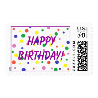 Happy Birthday Stamps with Colorful Polka Dots