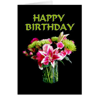 Happy Birthday, Stargazer Lily Bouquet Card