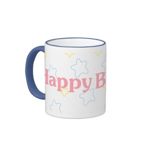 Happy Birthday Stars Ringer Coffee Mug
