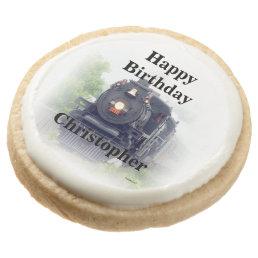 Happy birthday  steam train round shortbread cookie