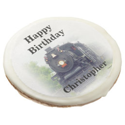 Happy birthday  steam train sugar cookie