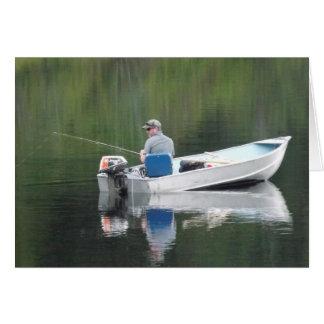 Happy Birthday Step-son Fishing Boat on Lake Card